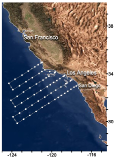 California Coastline with CCE LTER Grid and Coordinates