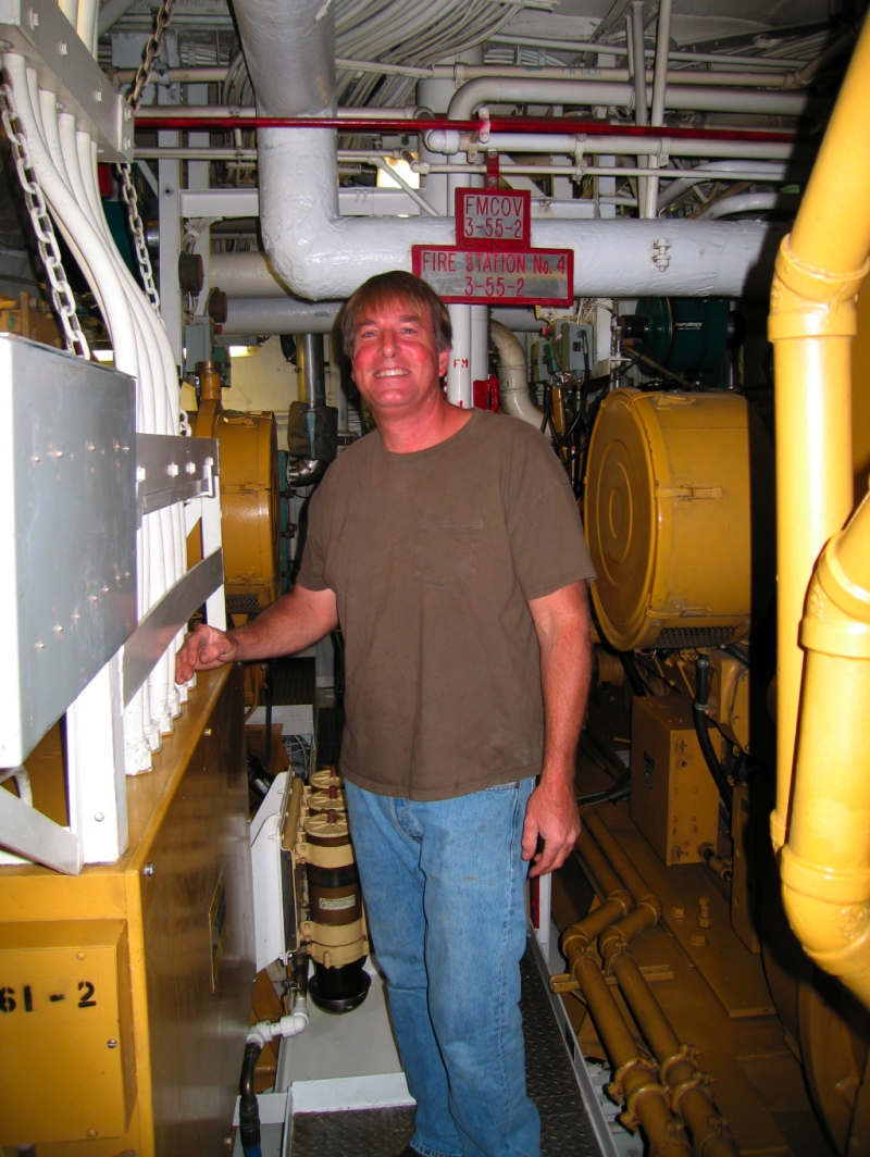 October 17:  Chief Engineer, Paul Bueren, in the engine room of the RV Melville. (photo: Christy Millsap)
